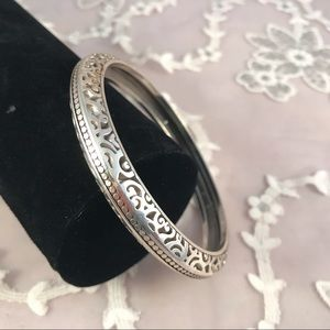 Brighton Silvertone Opera Bangle Bracelet Ornate